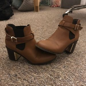 F21 faux leather booties 8.5
